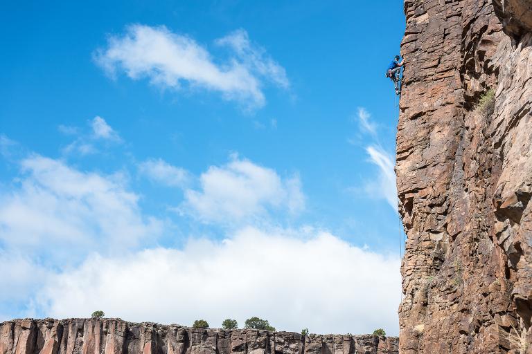 Jean De Lataillade on a classic 5.10c route at Diablo Canyon near Santa Fe, New Mexico.