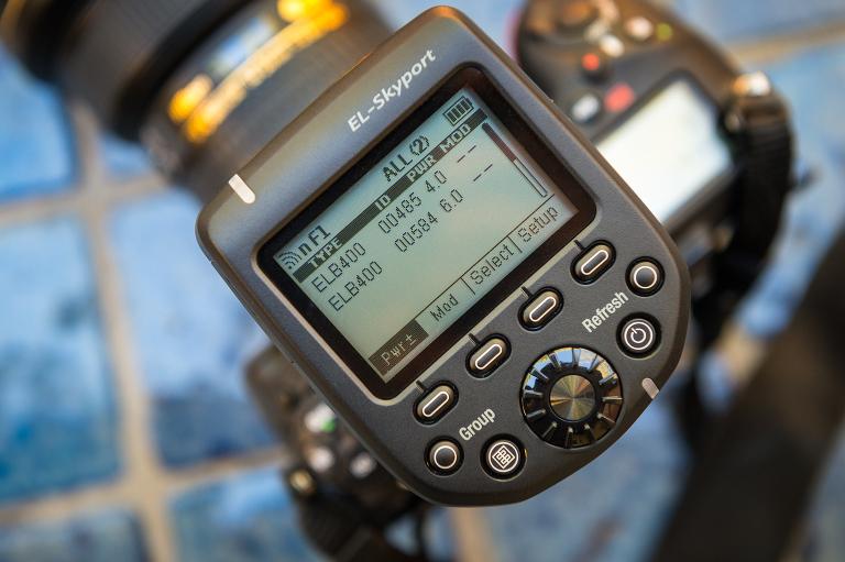 The Elinchrom Skyport Plus HS on top of a Nikon D810.