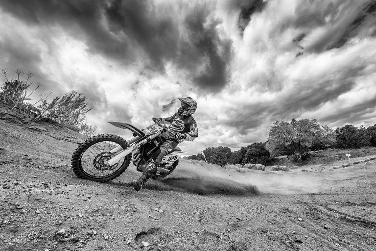 Daniel Coriz motocross riding at the Santa Fe MX track in northern New Mexico.